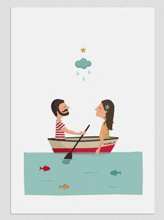 Ilustración. Aprendiendo a remar. Poster. por Tutticonfetti en Etsy