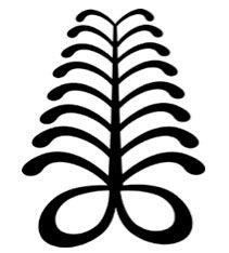 AYA  Samambaia   Símbolo da persistência e capacidade.   (A samambaia é uma planta rústica que pode crescer em ambientes hostis. A pessoa que usa este símbolo quer mostrar que passou por adversidades e ultrapassou dificuldades. Ela simboliza uma pessoa versátil e talentosa, capaz de funcionar em vários níveis e capaz de suportar as dificuldades.