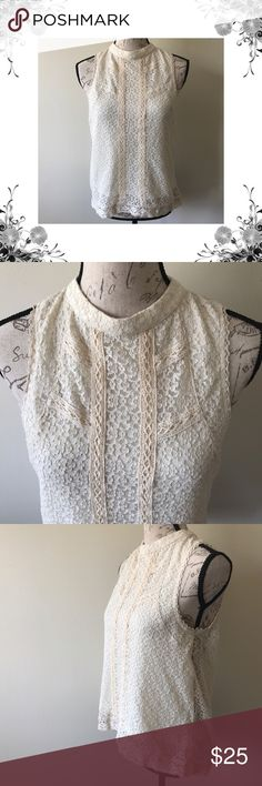 NWOT Halter Style Sleeveless Lace Blouse Beautifully feminine and delicate Lace design. Buttons at back of neck. The front is lined and the back is sheer lace. Perfect for layering over your favorite cami or bralette. 100% Polyester. Bundle for discounts! Thank you for shopping my closet! Paper Crane Tops