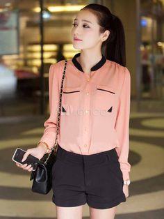 Populaire féminine blouse en chiffon rose avec finition belle