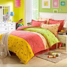 Happy weekend bed sheets Linen hot sale Queen bed Duvet quilt cover pillowcase sets 100% Cotton bedding set bedspread bedclothes $77.00