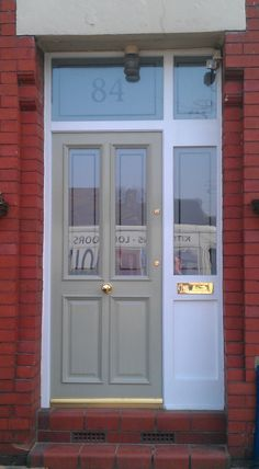 Grand Victorian Etched - Olive hardwood in bespoke frame with etched glazing and Victorian numbered fanlight
