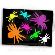 Multicolor Spiders Greeting Cards