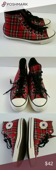 Converse All star plaid tartan high tops sz 9 Fun print pairs with denim outfit or St. Patty's ensemble  Slight signs of wear on sole Converse Shoes Sneakers