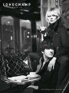 Romantic Cafe Fashion Ads: Kate Moss & Gaspard Ulliel for Longchamp