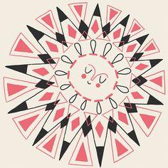 Kunstdruck glücklich retro Sonne  geometrische von CarolinaBuzio