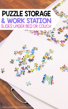 Work your jigsaw puzzles in style with this DIY work station and storage set. Fits a 1000 piece puzzle, is made from a large dry erase board and has 2 mats!