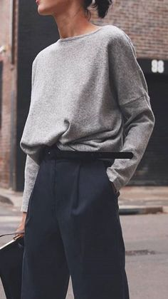 Navy high rise pants with a grey blouse. Navy high rise pants with a grey blouse. Visit Daily Dress me at dailydres - Fashion Mode, Look Fashion, Autumn Fashion, Womens Fashion, Minimal Fashion Style, Minimal Outfit, School Fashion, Fashion 2018, Minimalist Fashion