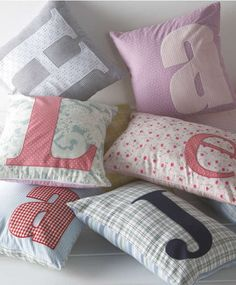 Made with Love Letter Cushions - selected letters available in Boy or Girl  http://whichsocial.com/pins/3715/Tuesday,%20October%2009,%202012-Sunday,%20September%2009,%202012
