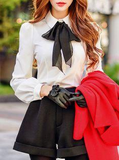 White Shirt Collar Long Sleeve Gathered Bow Blouse