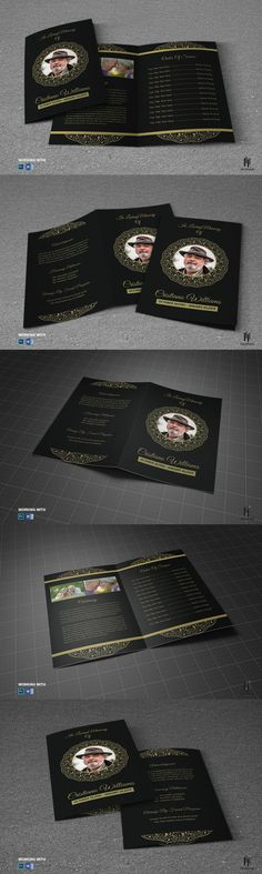 Black Dignity Funeral Program Large Publisher Template by Godserv on ...