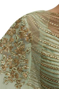 Mint green embroidered lehenga with attached dupatta blouse available only at Pernia's Pop-Up Shop