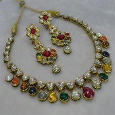 navaratna stone jewellery - Google Search Stone Jewelry, Metal Jewelry, Antique Jewelry, Gold Jewelry, Diamond Jewelry, Gold Earrings Designs, Necklace Designs, India Jewelry, Jewellery