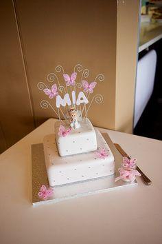 Christening Cake: pink butterflies - so ähnlich in blau ;)