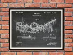 Patent 1898 Roller Coaster Art Print by BlueMoonPatentPrints