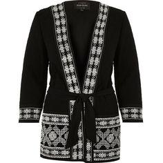 River Island Black embellished kimono jacket ($50) ❤ liked on Polyvore featuring outerwear, jackets, tall jacket, kimono jacket, river island, embroidered kimono and embroidered jacket