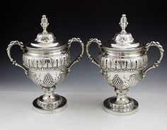 Pair of Kirk Sterling Silver Covered Goblets with Handles. ca.1903-1924.