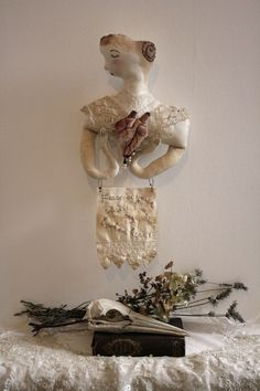 """please be gentle whilst I mend my broken heart"" textile art piece by Pantovola"