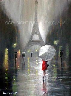 PETE RUMNEY FINE ART ORIGINAL ACRYLIC OIL PAINTING PARIS RAIN EIFFEL TOWER NEW in Art, Artists (Self-Representing), Paintings | eBay