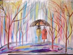 I love this painting of an older couple walking in the rain under the shelter of an umbrella.  The leaves have fallen from the trees and they are in the last season of their lives.  Together they are withstanding the storms of life.  What an endearing painting.  Water colours on paper.  416 x 591 mm