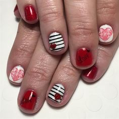 Hearts & Stripes Valentine's Day Mani by Jgchef13 from Nail Art Gallery