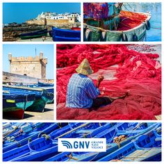 Colorful collage and composition about #fishing activity in #Morocco. Discover #GNV routes from/to #Maghreb here: www.gnv.it/en/