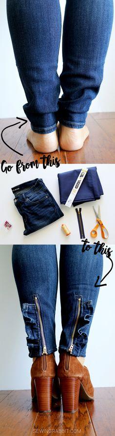 Ruffled Zipper jeans upcycle DIY