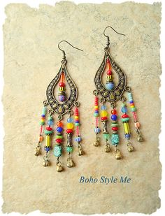Boho Gypsy Colorful Earrings Bohemian Dangle Earrings Modern