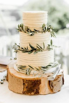 Rustic Wedding Cake with Olive Leaves for Vineyard Wedding by White Rose Cake Design