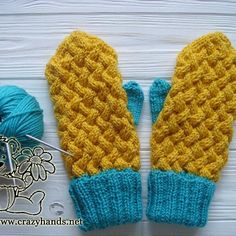 This pattern explains how to knit mittens for beginners. Blue and yellow cable knit mittens made with love. Enjoy them and other knit mittens patterns.