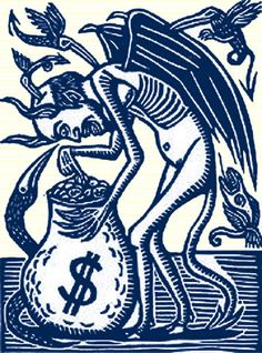 Artemio Rodriguez : Avarice (from Seven Deadly Demons) at Davidson Galleries Gif Terror, Arte Punk, Davidson Galleries, Scratchboard, Letterpress Printing, Linocut Prints, Macabre, Printmaking, Illustration