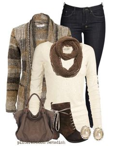a little more sophisticated dark jeans, cream long sleeve, brown toned cardigan, scarf and accessories. Would be cute with ankle boots too