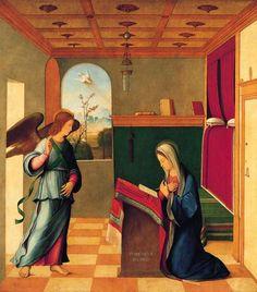 Francesco Bissolo (Italian, 1470/72-1554), The Annunciation, c. 1500. Oil on panel, transferred to canvas, 43-3/4 x 39-1/2 in. (111.1 x 100.3 cm). Norton Simon Art Foundation.