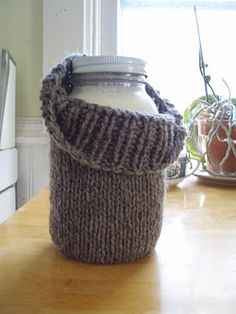 Awesome! I've knit some mason jar cozies that are perfect for taking oatmeal to go, but never thought to use them when making yogurt!