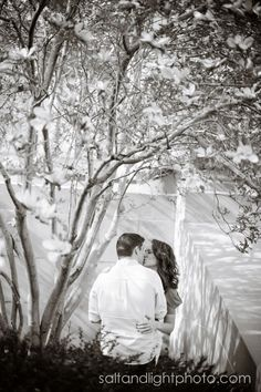Britney & Erik | Salt & Light Photography #engagement #photo #cute #spring #fun #flowers #black #and #white #blooming #tree