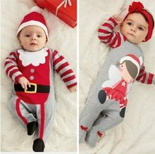 Baby Christmas One Piece Clothes Santa Baby Boys Girls Christmas Romper Hat Outfits Baby Winter Clothing Size 0~24(China (Mainland))
