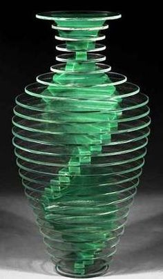 antique price guide, antique priceguide, sculpture, glass, America, Glass Sculpture; Hutter (Sidney), signed, 2/80, Vase #13, Plate Glass Vase Series, 12 inch.