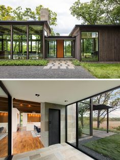 This modern single-level house has three wood clad wings that are connected by glass entry links. Single Floor House Design, Modern House Design, Modern Glass House, Residential Architecture, Architecture Design, Minimalist Architecture, Sustainable Architecture, Contemporary Architecture, Landscape Architecture