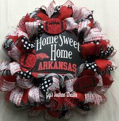 Arkansas Sports Wreath, Arkansas Football Wreath, Hogs, College Football, College Football by GigisSouthernWreaths on Etsy