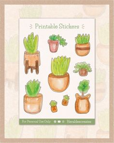 Add a pop of greenery to your spreads with these aesthetic potted plant sticker sheet! These stickers are created using the loose watercolor technique and are perfect to create an effortless look for your journal. You can choose from 9 handmade watercolor stickers for your bullet journal, planner,