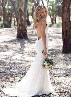 Robes de mariée - $159.55 - Forme Sirène/Trompette Col V Traîne Balayage/Pinceau Dentelle Robe de mariée (0025060351)