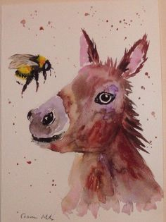 Donkey & Bumble bee Original watercolour painting Size A4 by Casimira Mostyn
