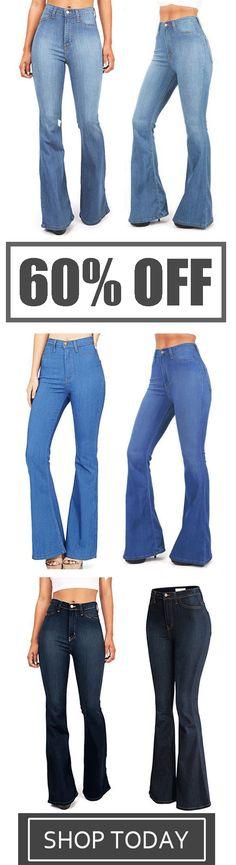 ecc327c0ea1 Plus Size Fashion Tight Flare Trousers Elastic High Waist Jeans Clothing  Sites