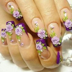This Pin was discovered by Marleen Melad. Discover (and save!) your own Pins on Pinterest. | See more about purple flowers, nail arts and floral nail art.