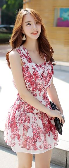 Luxe Asian Korean Women Fashion Feminine Flower Red Dress