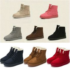 Casual Woman's Flat Lace Up Fur Lined Winter Martin Boots Snow Ankle Boots Shoes !
