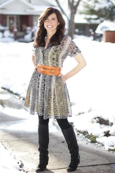 Black Halo dress #MadeinUSA Outfit snake skin in the snow, tall boots
