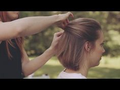 Clean Woven and Tucked Updo for Short Hair - YouTube