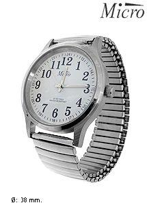 Reloj análogico para caballero de acero inoxidable altamente pulido de la marca Micro. Maquinaria de cuarzo y correa extensible.