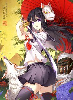 1girl black_hair fox fox_mask katana long_hair mask oriental_umbrella original…